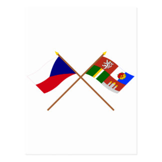 Czech and South Bohemia Crossed Flags Post Card