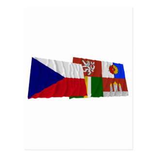 Czech and South Bohemia Waving Flags Post Cards