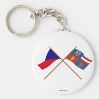 Czech and South Moravia Crossed Flags Key Chains