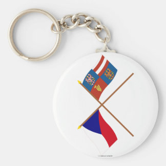 Czech and South Moravia Crossed Flags Keychains