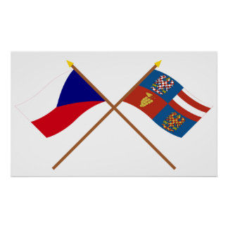 Czech and South Moravia Crossed Flags Poster