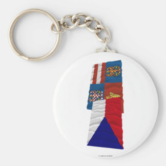Czech and South Moravia Waving Flags Key Chains