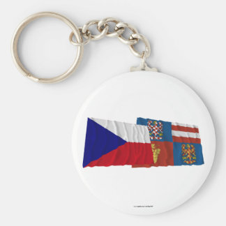 Czech and South Moravia Waving Flags Keychains