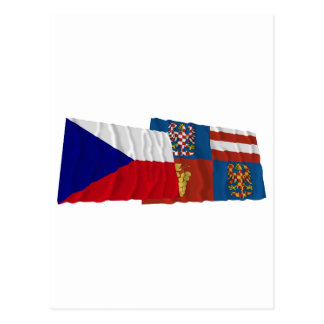Czech and South Moravia Waving Flags Postcard
