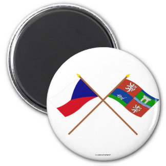 Czech and Usti nad Labem Crossed Flags 2 Inch Round Magnet
