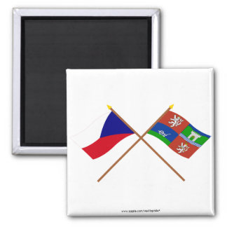 Czech and Usti nad Labem Crossed Flags 2 Inch Square Magnet