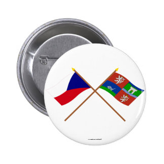 Czech and Usti nad Labem Crossed Flags 2 Inch Round Button
