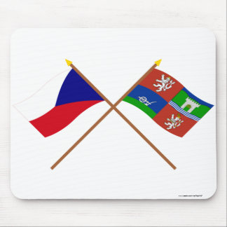 Czech and Usti nad Labem Crossed Flags Mouse Pad