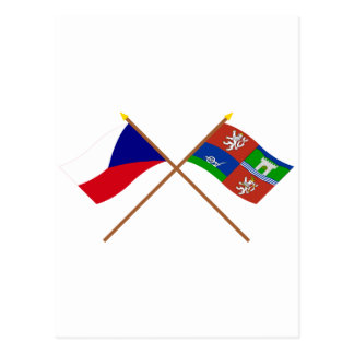 Czech and Usti nad Labem Crossed Flags Postcard