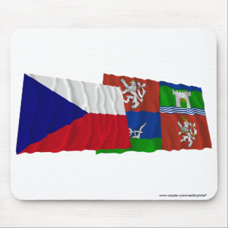 Czech and Usti nad Labem Waving Flags Mouse Pad