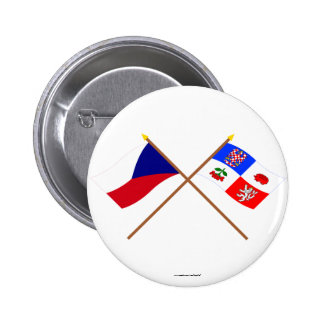 Czech and Vysocina Crossed Flags 2 Inch Round Button