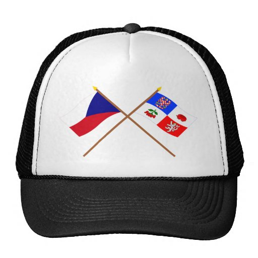 Czech and Vysocina Crossed Flags Mesh Hats