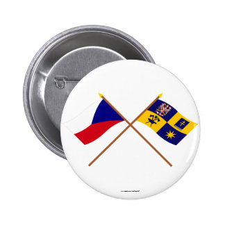 Czech and Zlin Crossed Flags 2 Inch Round Button