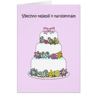 Czech Birthday Stylish Cake Card