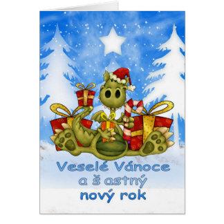 Czech Christmas Card - Cute Dragon - Veselé vánoce