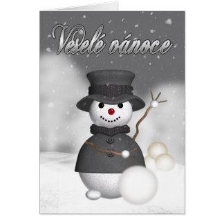 czech christmas card with modern stylish snoman