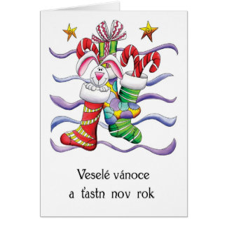 Czech - Christmas Stocking With Rabbit And Gifts - Card