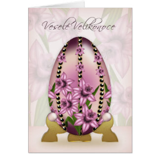 Czech Easter Card With Decorated Egg And Daffodils