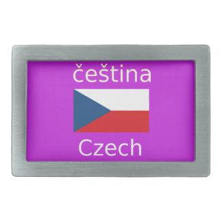 Czech Flag And Language Design Rectangular Belt Buckle