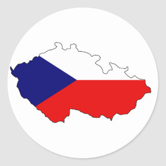 Czech flag map classic round sticker