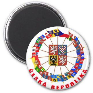 Czech Flags Pinwheel Refrigerator Magnet