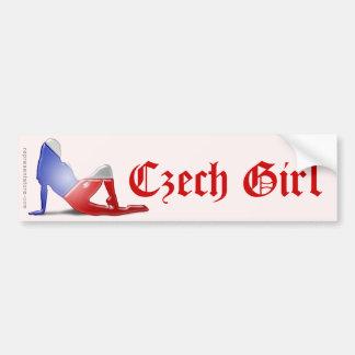 Czech Girl Silhouette Flag Car Bumper Sticker