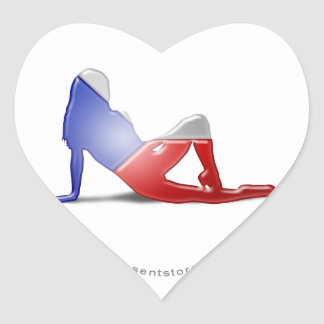 Czech Girl Silhouette Flag Heart Sticker