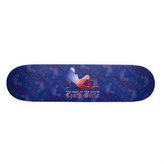 Czech Girl Silhouette Flag Skate Deck