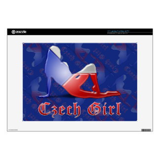 "Czech Girl Silhouette Flag Decal For 15"" Laptop"