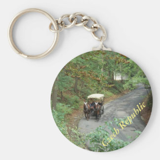 Czech Horse And Carriage Down A Forest Road Key Chain