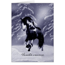 Czech Horse Christmas Card - Digital Painting - Ve