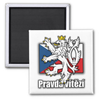 Czech Lion Coat of Arms Flag 2 Inch Square Magnet