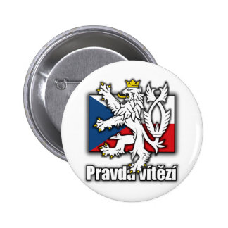 Czech Lion Coat of Arms Flag 2 Inch Round Button
