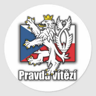 Czech Lion Coat of Arms Flag Classic Round Sticker