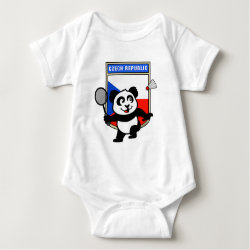Baby Jersey Bodysuit with Czech Republic Badminton Panda design
