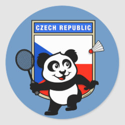 Round Sticker with Czech Republic Badminton Panda design