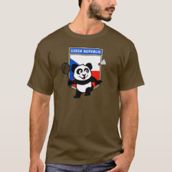 Men's Basic Dark T-Shirt with Czech Republic Badminton Panda design
