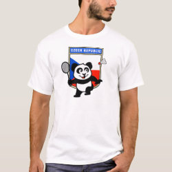 Men's Basic T-Shirt with Czech Republic Badminton Panda design