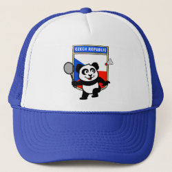 Czech Republic Badminton Panda Trucker Hat