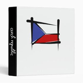 Czech Republic Brush Flag 3 Ring Binder