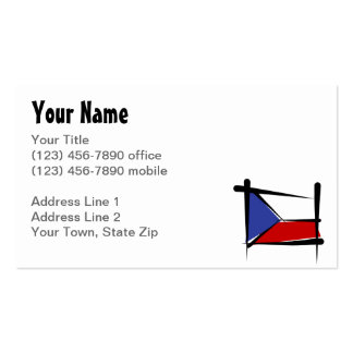 Czech Republic Brush Flag Business Card Template