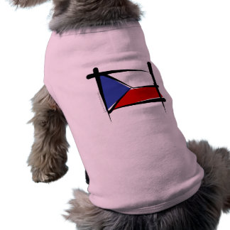 Czech Republic Brush Flag Pet Tshirt