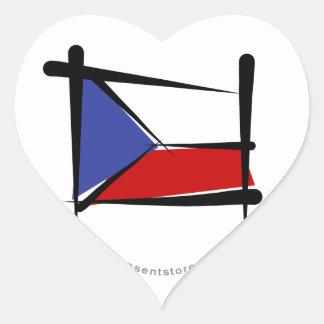 Czech Republic Brush Flag Heart Sticker