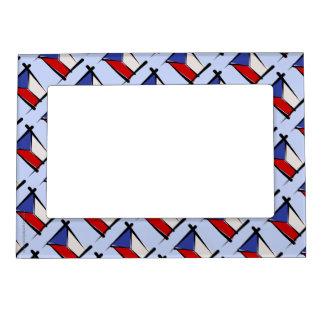 Czech Republic Brush Flag Magnetic Photo Frame