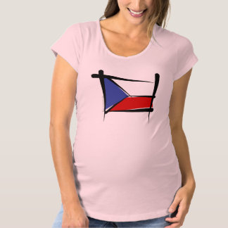 Czech Republic Brush Flag Maternity T-Shirt