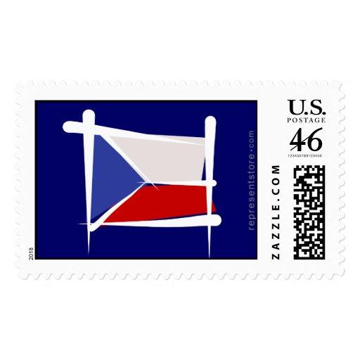 Czech Republic Brush Flag Stamps