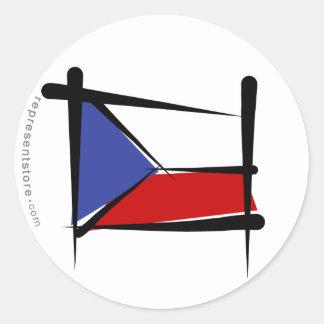 Czech Republic Brush Flag Classic Round Sticker