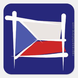 Czech Republic Brush Flag Square Sticker