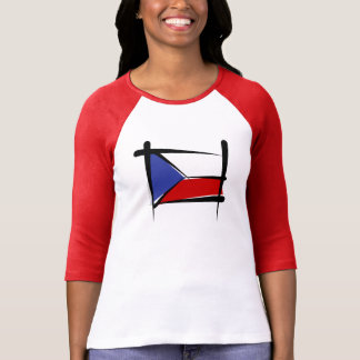 Czech Republic Brush Flag T-Shirt