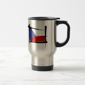 Czech Republic Brush Flag Travel Mug